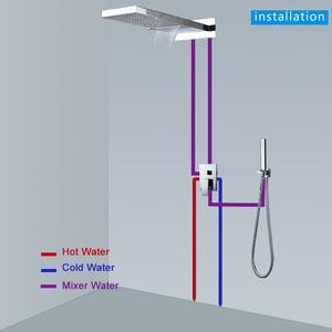 Image 5 - ラグジュアリー滝降雨真鍮シャワー蛇口ミキサーウォールマウントシングルハンドルシャワー handshower と 3 方法ミキサーバルブ