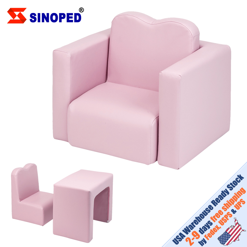 【US Warehouse】Children Sofa Multi-Functional Sofa Table And Chair Set Pink  To USA Drop Shipping