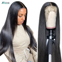 Allove Straight Lace Front Wig Peruvian Lace Part Wig Middle Part 13X4X1 Lace Front Human Hair Wigs Hd Transparent Lace Wigs