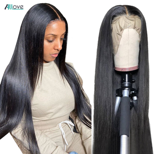 Image 1 - Allove Straight Lace Front Wig Peruvian Lace Part Wig Middle Part 13X4X1 Lace Front Human Hair Wigs Hd Transparent Lace Wigs