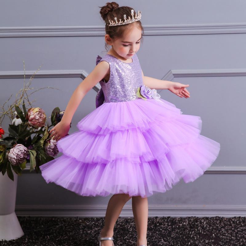 Sequined Top Tulle Elegant Princess   Dress   Tiered   Flower     Girl     Dress   with Bow For Wedding Custom Made Kids Pageant Gowns Longo