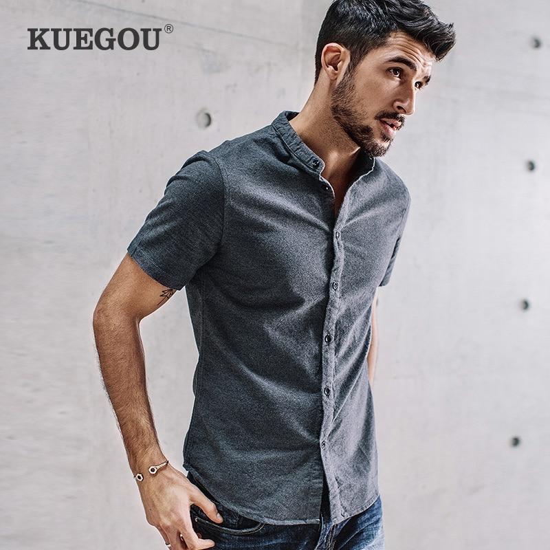 KUEGOU 100% cotton Men's shirt summer Chinese style shirt for men fashion leisure short-sleeved shirt man top plus size FC-5859