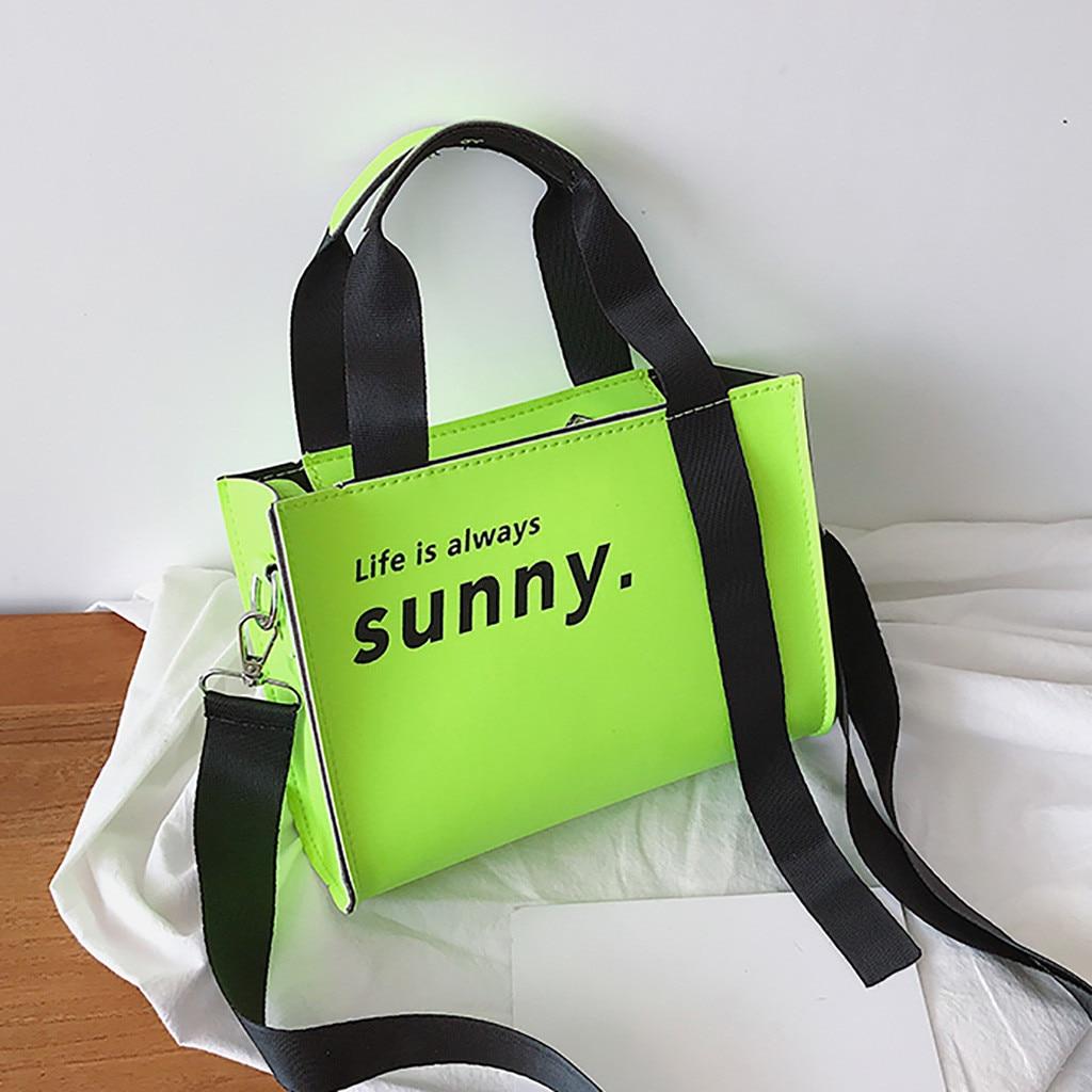 Mode femme Fluorescence Couleur sac À main sac sac casual sac À Bandoulière Néon vert sac à main sac principal femme #50