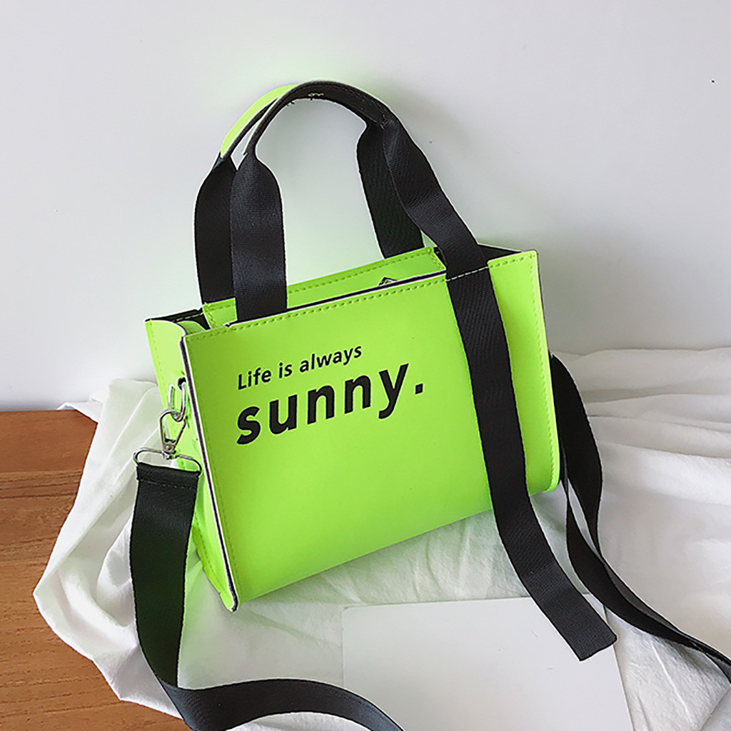 Women's Fashion Fluorescence Color Bag Handbag Bag Casual Bag Shoulder Bag Neon Green Handbag Sac Main Femme#50