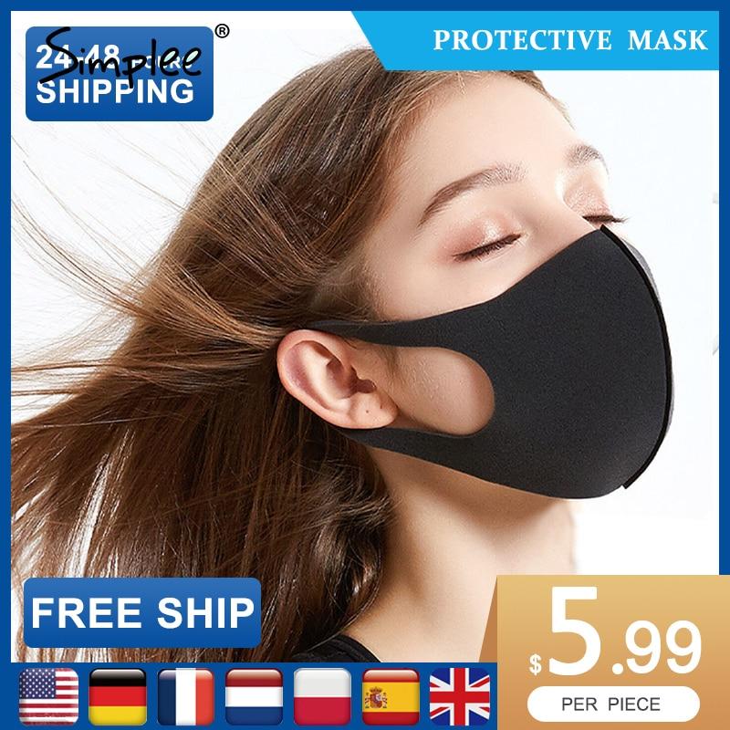 3 PCS Fashion Mouth Face Set Mask Black Blend Nose Protection Mask Reusable Solid Masks For Man Woman Face Masks