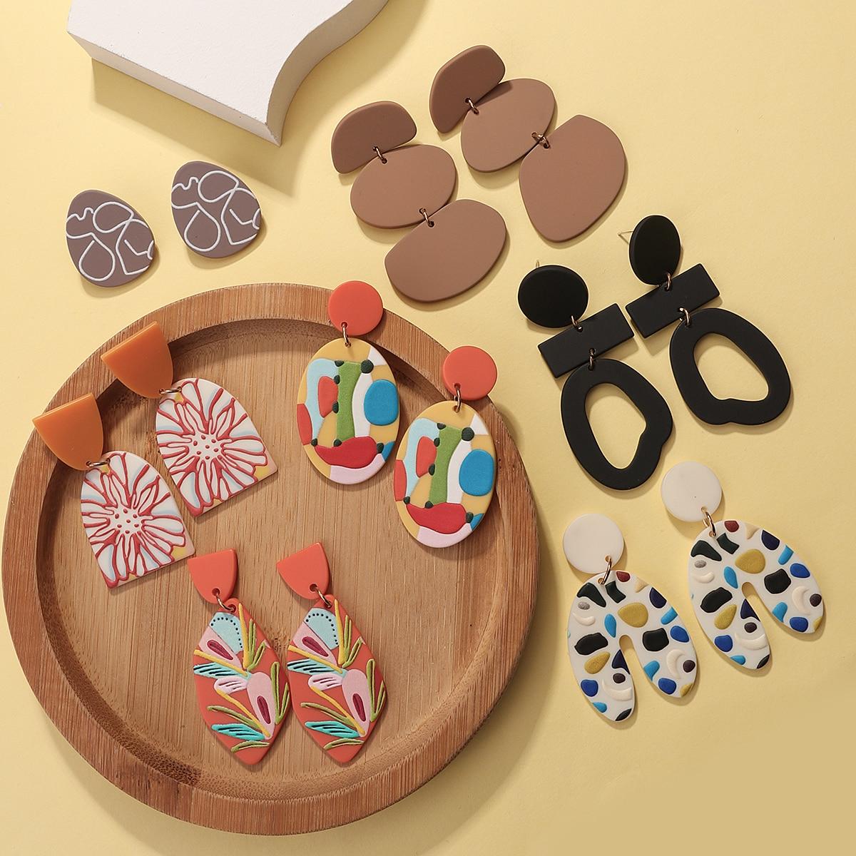 AENSOA Fashion Multi-type Irregular Acrylic Drop Earrings Colorful Graffiti Simulated Polymer Clay Geometric Earrings Gift