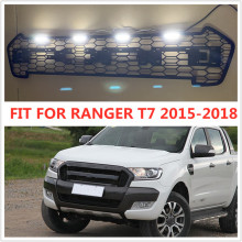 цена на OWN DESIGN MODIFIED GRILL 4 Led front Racing grills grille black front grill trims for Ranger wildtrak T7 T8txl pickup 2015-2019