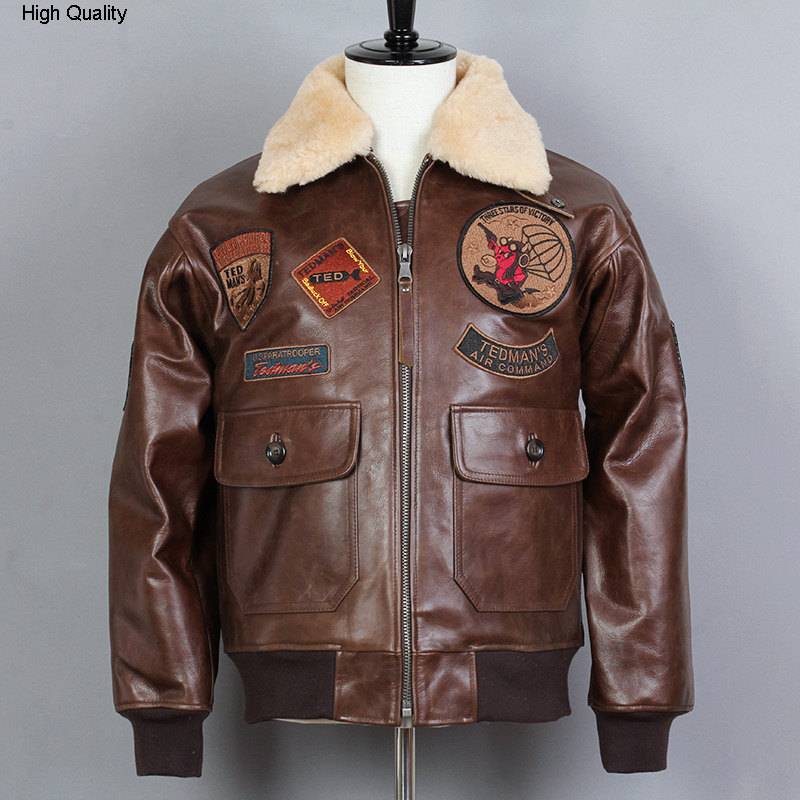 Fly G1 Air Force Genuine Leather Jacket Men Fur Collar Cowsikn Bomber Jacket Biker Motorcycle Jacket Winter Coat