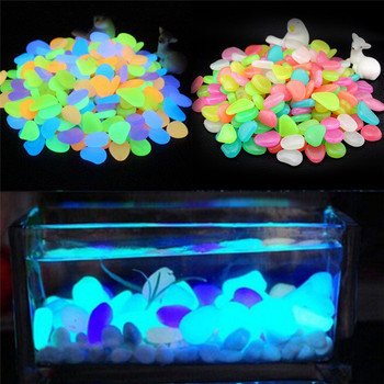 10pcs/lot Luminous Pebbles Rocks Garden Ornaments Stone Glow In The Dark GardenFor Walkways Fish Tank Decorations image