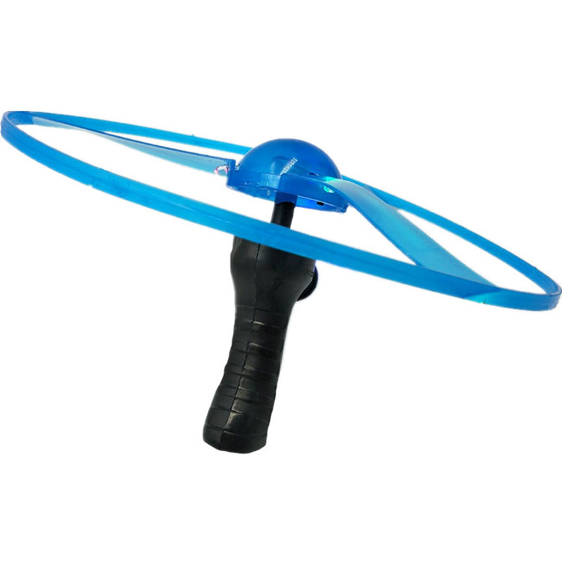 Classic Handle Pull Propeller UFO Funny Toys Novel LED Luminescent Outdoor Sports Toy For Kids Children's Day Gifts