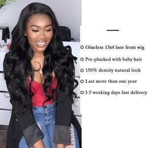 Image 5 - Pelucas frontales de encaje 13x4 para mujeres negras de largo 30 pulgadas, peluca de encaje Frontal, cuerpo ondulado, 4x4, pelucas de cabello humano Janin
