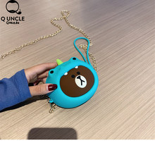 Girl Wallet Bag Ladies Animal Zipper Mini 3D Dinosour Cartoon Silicone Coin Purses Childrens Toys Change Pouch Storage Headphone(China)