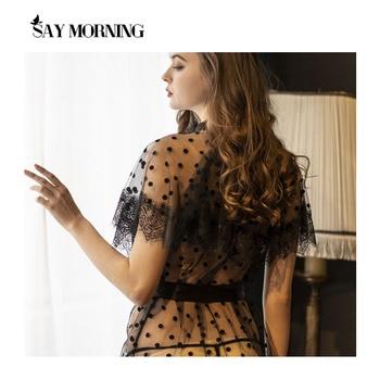 Sexy Sleepwear Lace Women Lingerie Sheer Robe