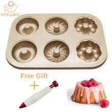 Kup Mini Bundt ciasto Pan Cupcake dostać pióra dekorujące darmowe Mini karbowane formy do ciasta metalowe/kwadratowe 6 wnęki foremka na babeczki forma do muffinek 034