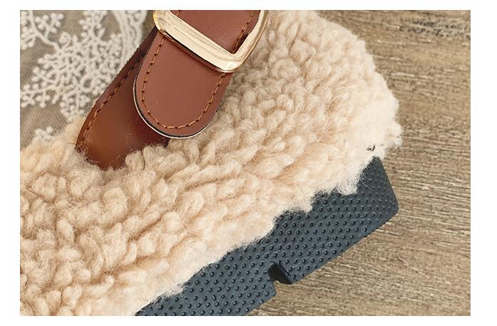 SLHJC Round Toe Loafers Flat Heel Slip On Women Autumn Flats Shoes Curly Fur Warm Female Drive Shoes 30