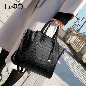 LUCDO Fashion Crocodile Pattern Leather Luxury Handbags Large Capacity Totes Bags Designer Famous Brand Messenger Shoulder Bag