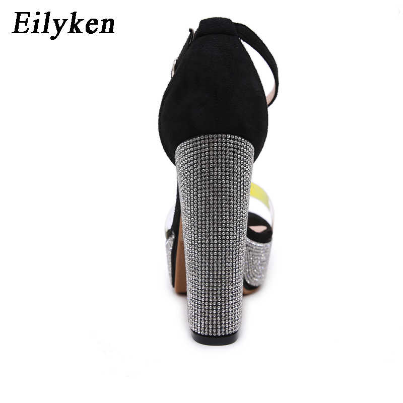 Eilyken 2020 ファッション pvc 女性サンダル夏のプラットフォームオープンつま先ラインストーン太いハイヒールアンクルバックルストラップ割引靴