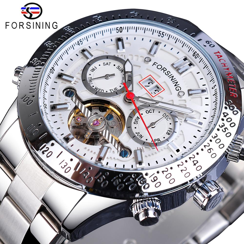 Forsining Fashion Mens Watches Mechanical Automatic Top Brand Luxury Business Date Week Waterproof Stainless Steel Man Watches