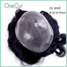 PU Base Men Toupee Wigs V-loop Natural Hairline Durable Remy Hair Unit Replacement System Male Human Hair Capillary Prosthesis