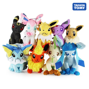 22cm POKEMON Plush Toy Glaceon Leafeon Umbreon Espeon Jolteon Vaporeon Flareon Eevee Sylveon Pocket Monster Pikachu Poké Gift - discount item  37% OFF Stuffed Animals & Plush