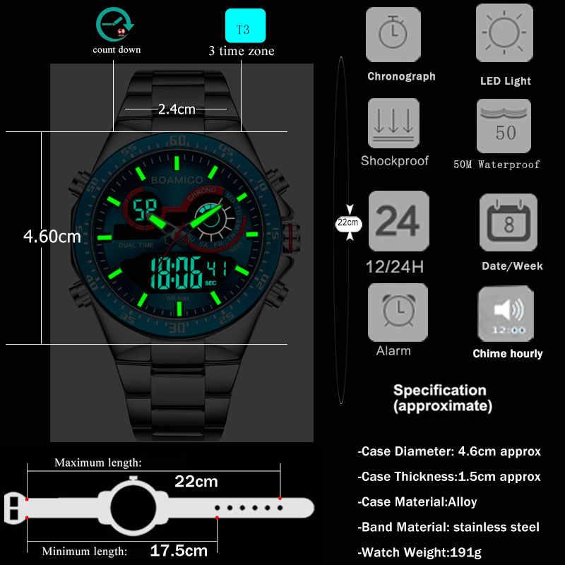 BOAMIGO 2020ใหม่แฟชั่นMensนาฬิกาสแตนเลสสตีลหรูหรากีฬาผู้ชายนาฬิกาดิจิตอลชายนาฬิกาควอตซ์ชาย