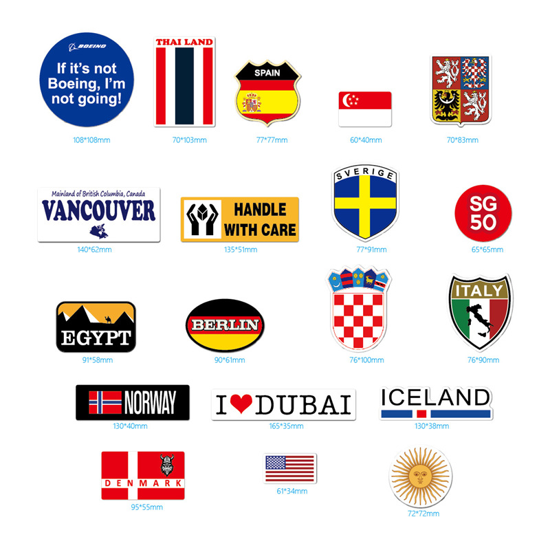 Image 4 - 39Pcs Fashion Brand Logo Travel Map Sticker Waterproof Vinyl Stickers For Laptop Cover Skateboard IPad MacBook Car Luggage Decal-in Laptop Skins from Computer & Office