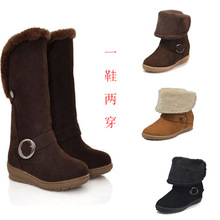 2019 Winter Suede Leather Warm Snow Shoes Women Boots mid-calf Plush Fur Velvet Boots Female Booties Woman Footwear цена