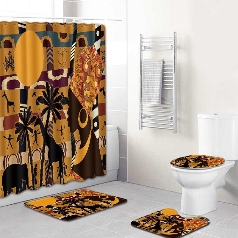 アフリカ系アメリカ人女性ノンスリップバスマットセット台座敷物 + 蓋トイレカバー + バスマット + カーテン浴室用