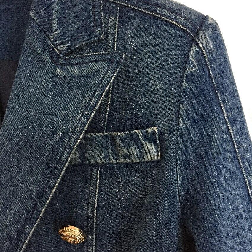 DEAT осенне зимняя двубортная джинсовая синяя куртка с высокой талией, женское короткое пальто, модные металлические пуговицы, WJ02305L - 4