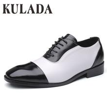 KULADA Top wysokiej jakości buty męskie biznesowe klasyczne buty ze skóry lakierowanej mężczyźni Oxford Luxury Fashion formalne buty męskie buty sukienka tanie tanio Stałe Dla dorosłych 3703 Okrągły nosek RUBBER Lace-up Pasuje prawda na wymiar weź swój normalny rozmiar Oksfordzie