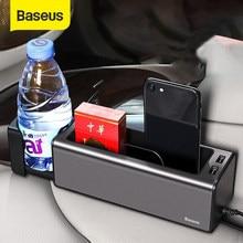 Baseus Organizer na fotel samochodowy metalowe samochodowe pudełko do przechowywania kieszeń z dwa porty USB na kubek samochodowy uchwyt na telefon szczeliny w siedzeniach organizator gadżety