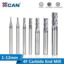 XCAN brocas de carburo de tungsteno para fresadora CNC, 1 12mm HRC 45, fresas de vástago recto, herramientas de fresado