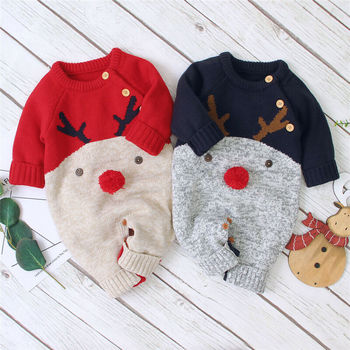 Winter Christmas Newborn Baby Girl Knitted Romper Jumpsuit Overall Sweater Warm Fall Autumn Wool Xmas Clothes christmas baby clothes autumn winter knitted baby deer romper newborn romper infant jumpsuit toddler girl romper