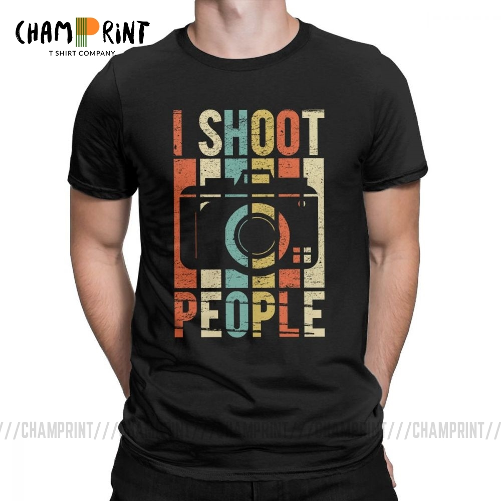 Men's Vintage Shoot People Photographer T-Shirt Novelty 100% Cotton Tee Shirt Short Sleeve T Shirts Round Neck Tops Gift Idea
