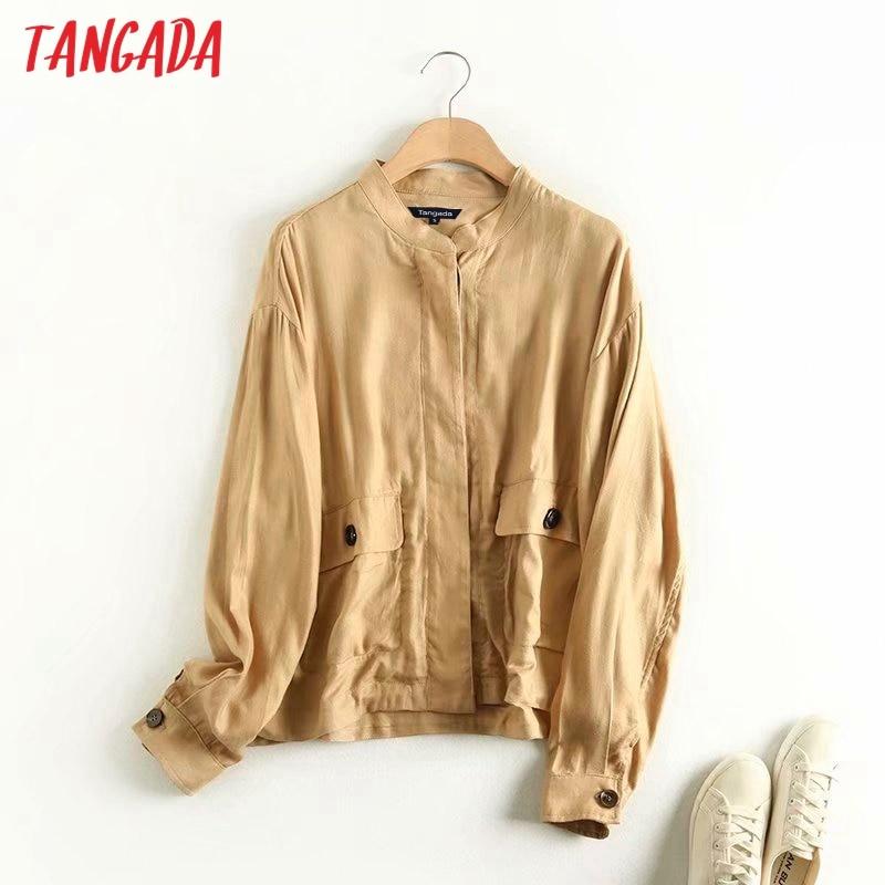 Tangada 2020 Women Linen Viscose Autumn Jacket Coat Ladies Long Sleeve Loose Oversize Boy Friend Coat 4C6