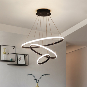 Modern Pendant lamp Led 3/4/5 Rings Circle Ceiling Hanging Chandelier Black Loft Living Dining Room Kitchen Lighting Fixture