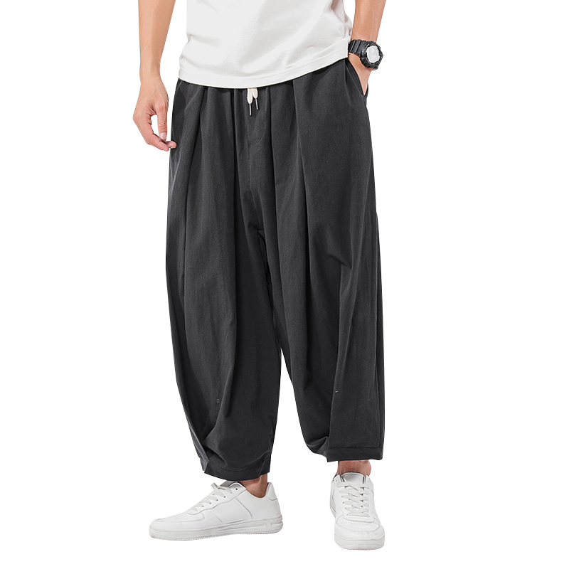 Chinese Style Men's Wide Wide Trousers Elastic Casual Harem Pants 2020 Spring Solid Color Oversize Man Pants Plus Size 5XL