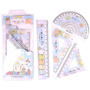 4pcs/set Kawaii Cartoon Straight Triangle Ruler Protractor Drafting Drawing School Office Supplies - discount item  22% OFF Drafting Supplies