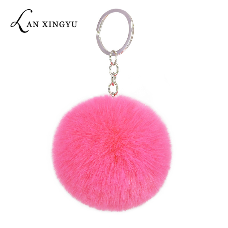 Faux Rabbit Pompom 8CM  Keychain Artificial Rex Rabbit Fur Pendant Ladies Bag Plush  Hang Car Keyring Accessories  Holiday Gifts
