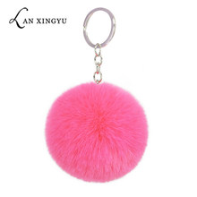 Faux rabbit pompom 8CM keychain artificial Rex rabbit fur pendant ladies bag plush hang car keyring accessories holiday gifts(China)
