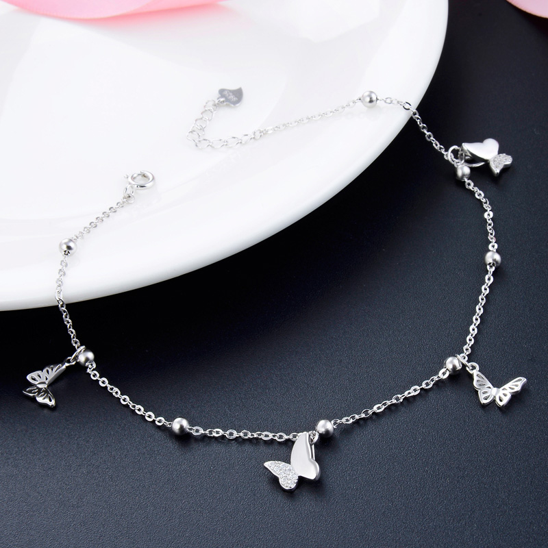 Butterfly Foot Chain foot leg bracelet silver 925 Cute Silver Anklet Jewelry S925 Anklet Bracelet Adjustable Length Birthday Gif 4