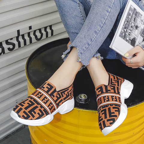 Women Shoes Slip On White Sneakers For Women Vulcanize Shoes Flyknit Basket Femme Super Light Women Casual Shoes Chunky Sneakers Multan