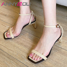 ANNYMOLI Ankle Strap Shoes Women Real Leather High Heel Sandals Square Toe Block Heels Buckle Lady Sandals Summer Khaki Size 40