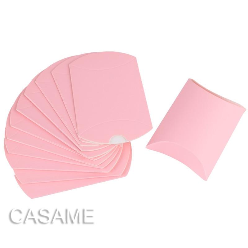 10 шт. коробка конфет сумка крафт бумага Подушка Форма свадебный подарок Коробки пирог вечерние коробка сумки эко дружественные крафт-продвижение - Цвет: baby pink