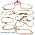 Деревянный трек для поезда, железная дорога, деревянные дорожные игрушки, дополнительные аксессуары, совместимые с различными поездами и ...