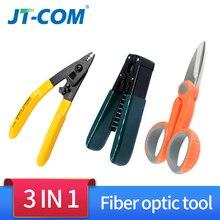 3 In1Splice Glasvezel Tool Kits CFS 3 Glasvezel Stripper + Ftth Drop Cable Stripper + Glasvezel Kevlar Schaar