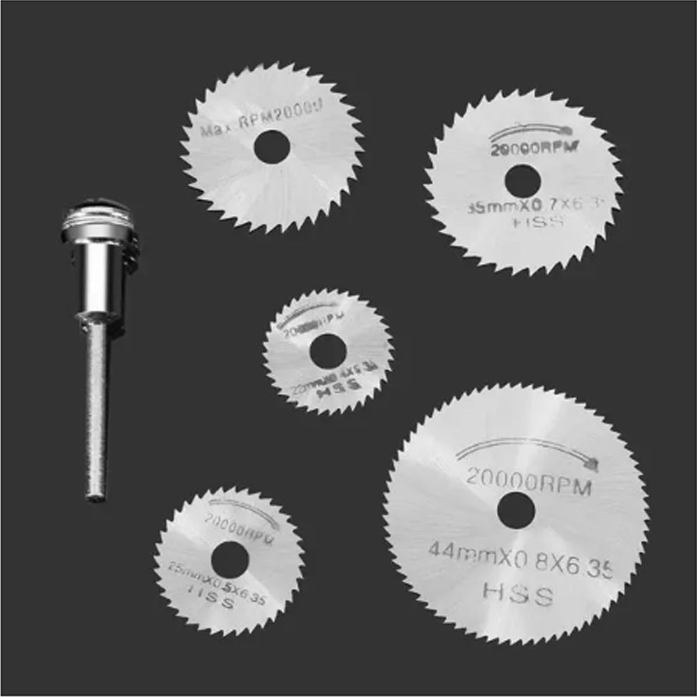 6pcs HSS Saw Blades For Dremel Ratory Tools Circular Saw Blades Cutting Discs Mandrel Cutoff Cutter Power Tools Multitool