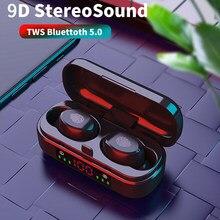 V8 LED Elektrische Display Bluetooth 5,0 Headset Drahtlose Ohrhörer TWS 9D Stereo In-ear Bluetooth Headset Wasserdichte IPX7