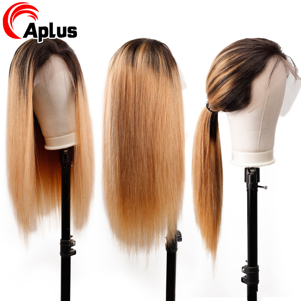 Glueless Honey Blonde 13*4 Lace Front Wigs Ombre Wig Straight Remy Human Hair 1b 27 Colored Swiss Lace Frontal Wigs Pre Plucked
