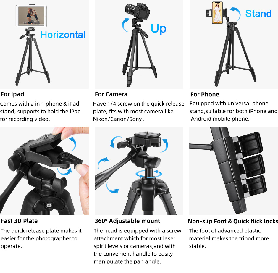 Tripod for Camera Tablet 60-Inch/150cm Aluminum Phone Tripod for Phone /iPad/ DSLR Camera with remote control Mount Holder
